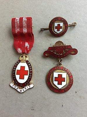 Vintage British Red Cross Society County Of Cornwall Badge & Badges Joblot