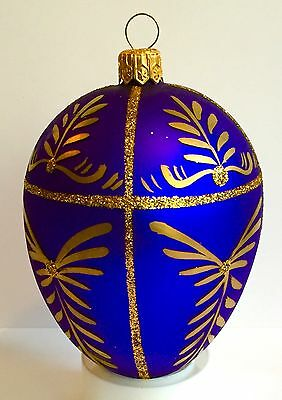Blue Glass Egg Ornament Hand-Painted, Golden, Glitter, Mouth-Blown Impuls Poland