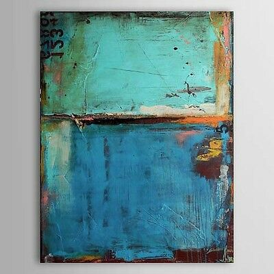 Oil Painting hand painted on Canvas Vintage Abstract  Blue Color with Numbers