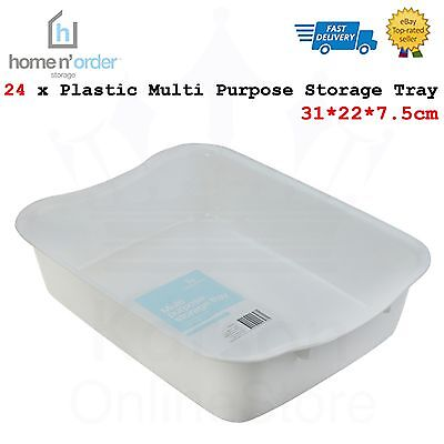 24 x White Plastic Multi Purpose Storage Tray 31*22*7.5cm Home Office Organizer