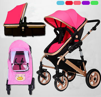 Baby Child Pushchair Pram Stroller Buggy Travel System Carrycot Or Rain Cover