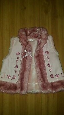 Beautiful pink gilet fur lined age 1 - 1 1/2