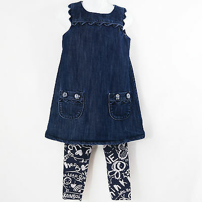 Girls Trendy Scribble Graffiti Next Denim Dress & Leggings Outfit Age 3-4 years