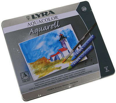 Lyra Aquacolor Water-Soluble Crayons 24/Pkg-Assorted Colors 5611240