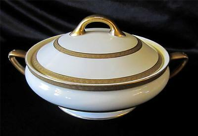 Rare Royal Doulton Wide Gold Bands Pattern H2919 Vegetable Dish/ Tureen With Lid