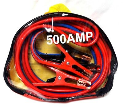 HEAVY DUTY 500 amp 6 gauge No Tangle Battery Booster Cables 12ft w/Travel Case
