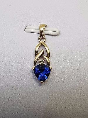 100% Genuine 9Ct Y/gold Blue Heart Stone With Diamond - Very Pretty Pendant