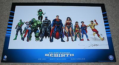 Wondercon 2016 Exclusive Dc Rebirth Signed Lithograph Poster Jim Lee Limited