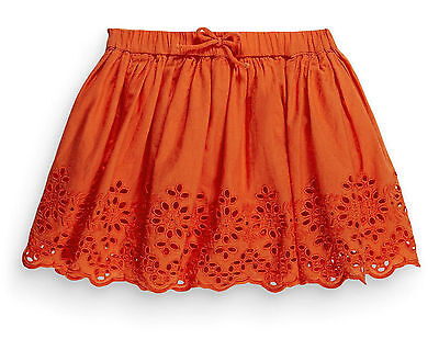Next Girls 2-3 Years Orange Broderie Cotton Lace Lined Skirt