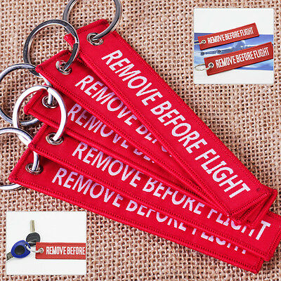 New 5x Red Remove Before Flight Key Chain Luggage Tag Woven Embroidery Keychain