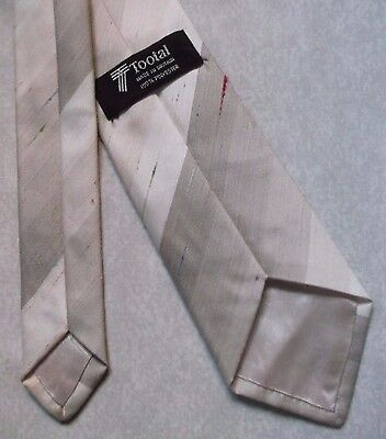 TOOTAL VINTAGE TIE 1980s MOD CASUAL BROWN BEIGE STRIPED STRIPES RETRO