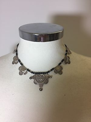 Tribal Tuareg Silver And Black Bead necklace