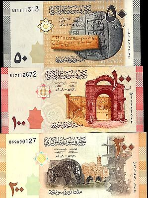 Syria 2009 - 50 /100 / 200 Syrian Pounds , Banknote set of 3 UNC