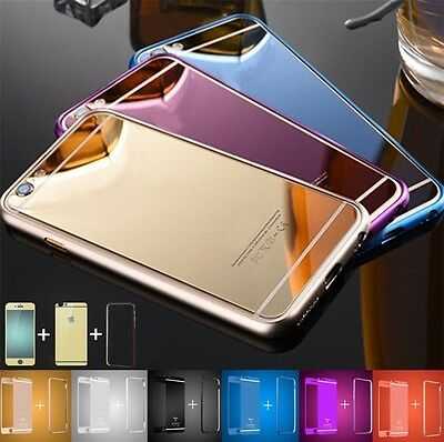 FRONT BACK MIRROR Tempered Glass Metal Bumper Frame Case For iPhone ...