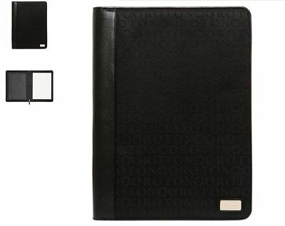 OROTON Stencil A4 Folio Compendium Black Leather Jacquard Document Folder New