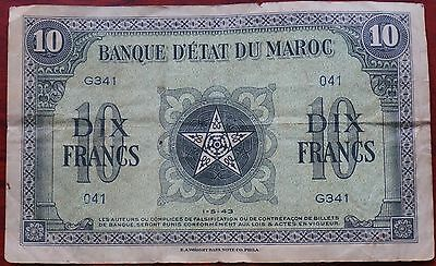 Morocco, 10 Francs 041/G341, dated 1-5-43, creased & folded, Fair