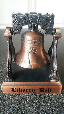Copper Liberty Bell with Base.Carved Words Around Bell & MADE IN CHINA at Inside