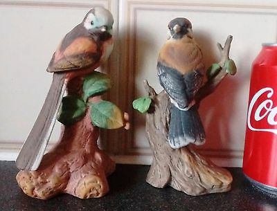 Pair of Pottery Birds Statue,Label Show A-Made Taiwan,Gorgeous,Very Collectible