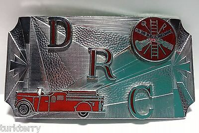 Vintage Metal Fire Department Hook Fast Belt Buckle DRC Red Fire Truck Vehicle