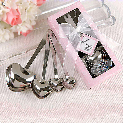 One Set Four Heart Shaped Silver Measuring Spoons Wedding Favors Love Wondrous