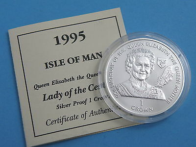 ISLE OF MAN - 1995 SILVER PROOF ONE CROWN COIN - Lady of the Century + Cert.