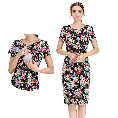 Summer Maternity Dress Nursing Breastfeeding Dresses Short Sleeve Floral Dress