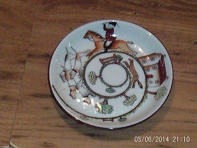 Vintage Pin Dish Fine Bone China Crown Staffordshire Hunting Scene Good Conditio