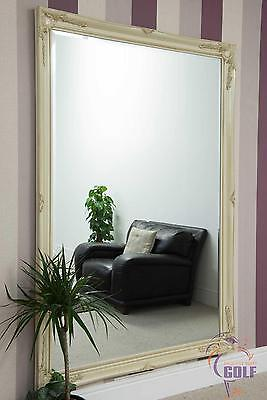 Large Ivory Antique Style Wall Mirror 6ft7 x 4ft7 (200cm x 140cm)