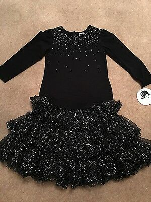 Girl's black sparkly Sarah Louise outfit age 6 years NEW