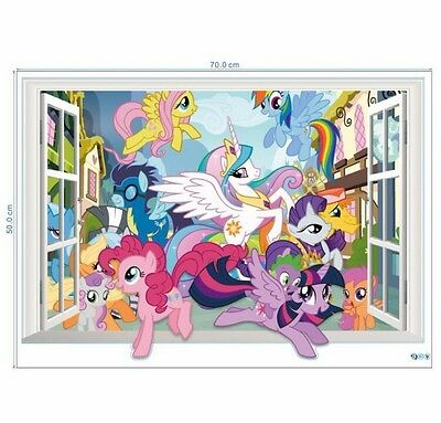 3D Window My Little Pony Wall Sticker Mural Decal for Kid Child Room Decor StylC
