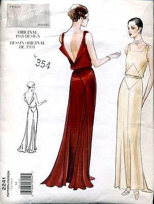 Vintage 30's VOGUE ORIGINAL 2241 DESSIN*EVENING*WEDDING DRESS Sewing pattern B36