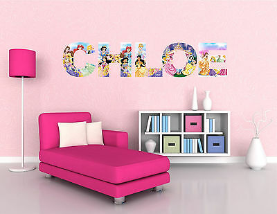 DISNEY PRINCESS letter name wall stickers (3 sizes available & PRE-CUT)