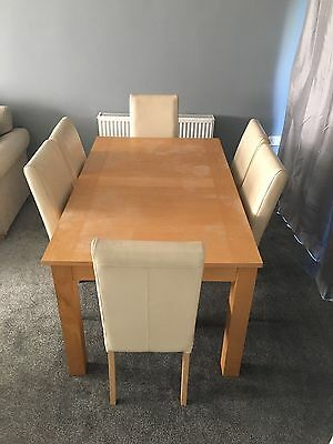 Oak veneer dining table, With 6 Cream Chairs