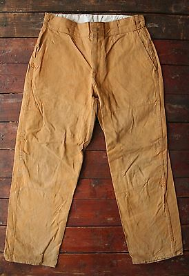 VTG 60s JC PENNEY HUNTING APPAREL BROWN CANVAS DUCK TROUSERS PANTS USA W32 L30