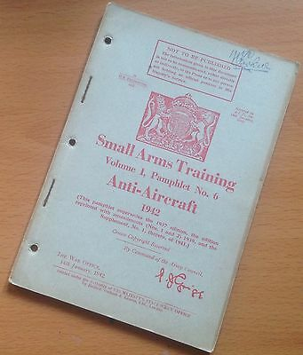 Original 1942 Small Arms Training Manual/pamphlet: Anti-Aircraft