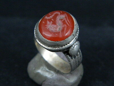 Antique Silver Ring With Carved Stone Post Medieval 1800 AD   #STC500