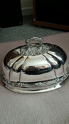 beautiful antique  silver plate meat dish cover