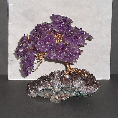 "AMETHYST GEMSTONE TREE w/ Amethyst base Bonsai 4 1/2"" high 9.3 oz 1130"