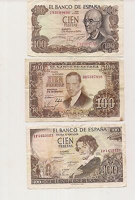 SPAIN...Lot of 3 Banknotes...3 x 100 Pesetas  VG CONDITION