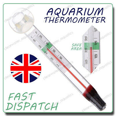 Submersible Glass Thermometer 0~40°C With Sucker TROPICAL Aquarium FISH Tank