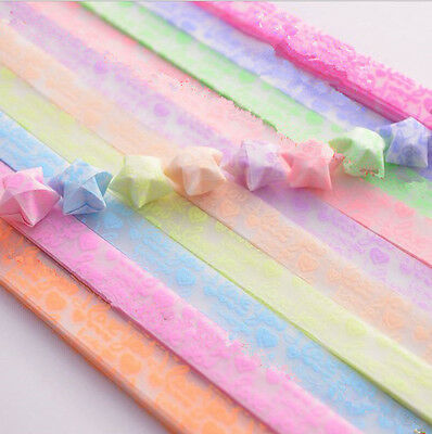 Origami Luminous Lucky Wish Star Paper Strips Glows in the dark Craft Gift fb