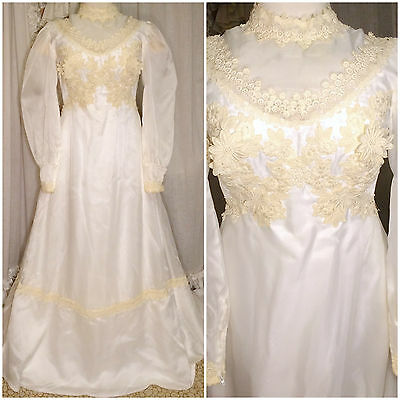 60s William Cahill Lace Applique High Neck Victorian Prairie Wedding Gown