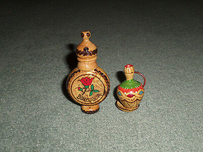 VINTAGE Lot of Two BULGARIAN ROSE PERFUME WOODEN Ornate BOTTLE Flask Set, GUC!