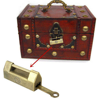 Old Vintage Antique Style Brass Metal Wedding Jewelry Box Padlock Lock + Key New
