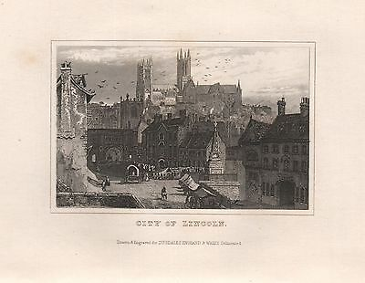1845 Antique Print-Dugdale- Lincolnshire - City Of Lincoln
