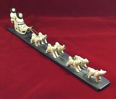 Antique Inuit Eskimo Carving of Inuit Family and Dog Sled Team - Baline Base