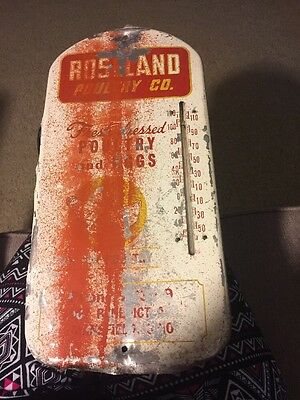 Vintage Roseland Poultry Co Metal Advertising Thermometer Mansfield Ohio