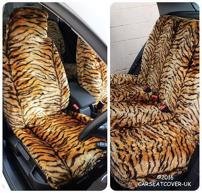 Peugeot 107  - Gold Tiger Faux Fur Furry Car Seat Covers - Full Set