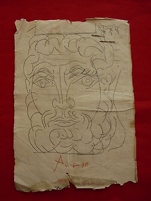 Pablo Picasso  - Drawing On Original Paper    -  - ///---  -----