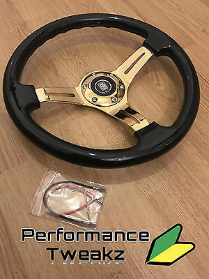 New Universal Jdm Gold Chrome 350Mm Dish Steering Wheel Nardi Omp Sparco Momo
